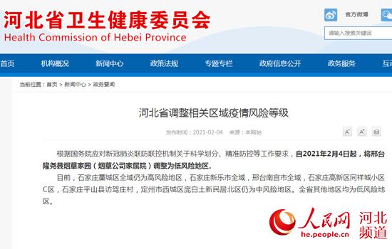 河北省调整相关区域疫情风险等级 邢台1地调整为低风险地区