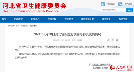 2月20日河北省无新增新型冠状病毒肺炎确诊病例无新增无症状熏染